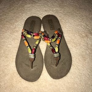 Shoes - Brown sandals with beaded strap and a small heel